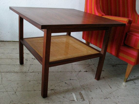 mid century danish modern end table walnut cane  by groovygirl60, $675.00