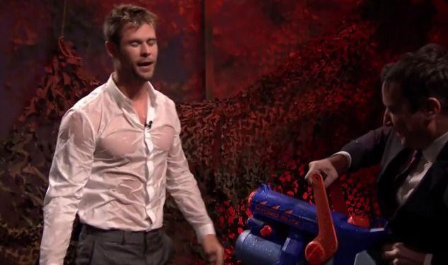 Chris Hemsworth Wins Wet T-Shirt Contest on <i>Fallon</i>