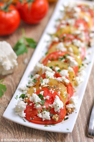 Summer Tomato Feta Salad - Also, when summer tomatoes aren't ready, Natures Sweet brand cherry tomatoes work for this, too!  I love this simple tomato salad.  Tomato-Basil feta is another great alternative. ~Suz