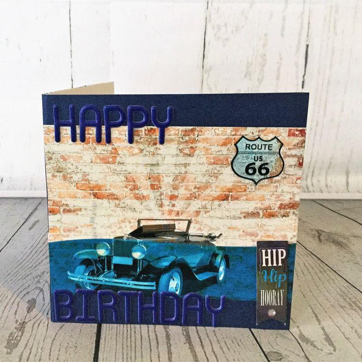 Charming steel blue vintage styled male birthday card.  Free postage
