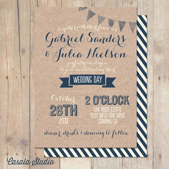 Whimsical Rustic Kraft Paper Wedding Invitation by casalastudio