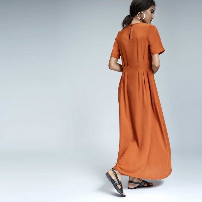Tan Crepe Pleated Maxi | Buy Half Sleeve Dresses Online