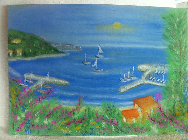 View from Menton France to Italy. Drawn with pastel chalk by Heidi Pedersen.