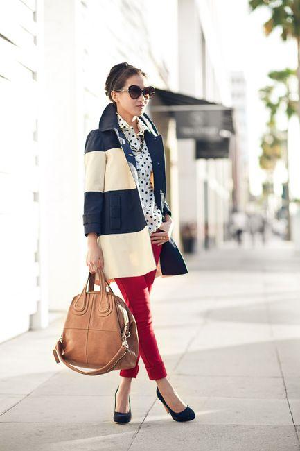 Polka Dots + Stripes.: Fashion, Polka Dots, Spring Coats, Style, Red Jeans, Polkadot, Mixed Patterns, Stripes, Red Pants