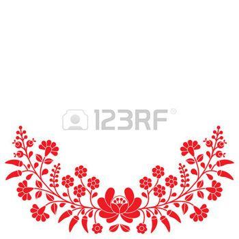 Popular h�ngara rojo estampado de flores - bordados Kalocsai con flores y piment�n photo