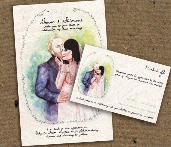 Printable Wedding Invitation, Watercolor Bride and Groom, Bride and Groom wedding invite, watercolor wedding invite, unique wedding invites