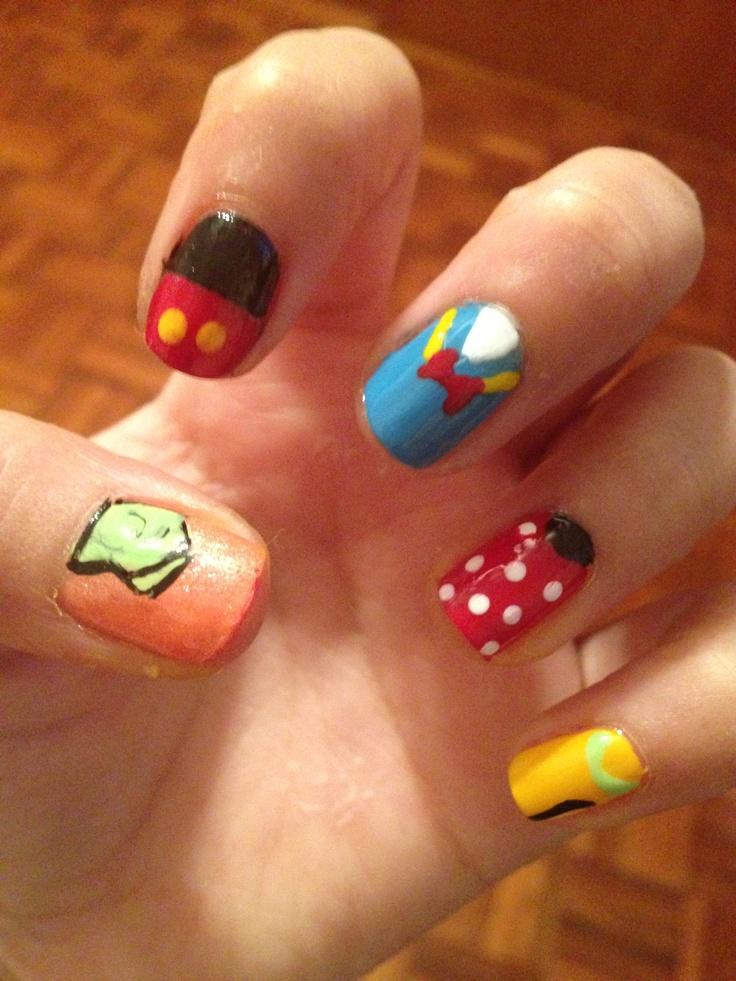Character Design Nail Art : Disney nails nail art mickey mouse pluto donald