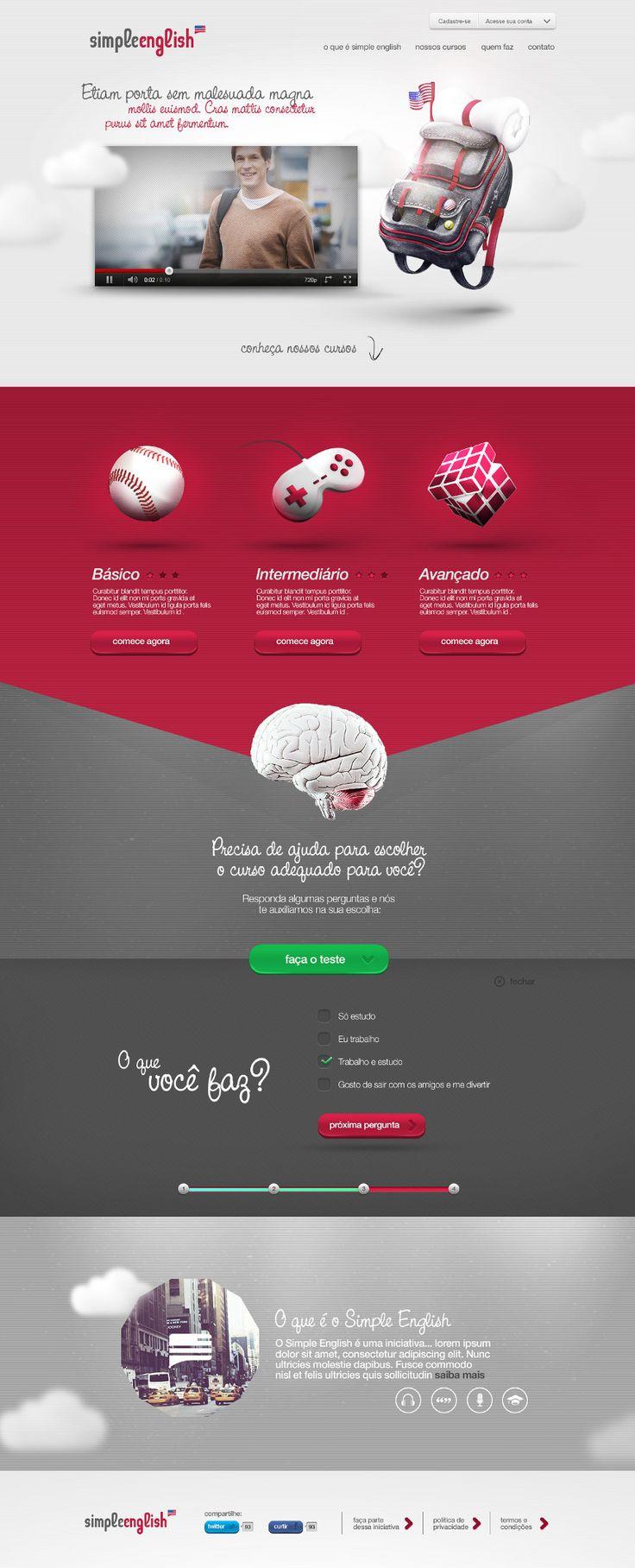 Simple English - Designer - Vinícius Costa / Portfólio | #webdesign #it #web #design #layout #userinterface #website #webdesign