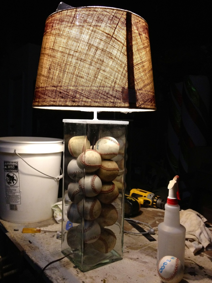 Made this baseball lamp