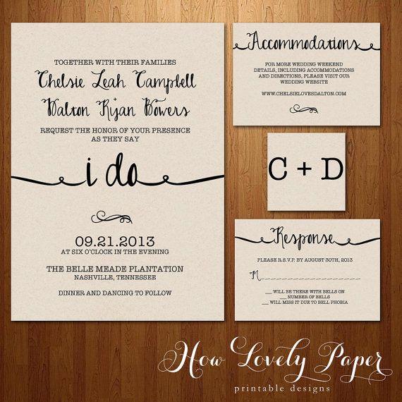 Printable Wedding Invitation Suite The Ella Collection