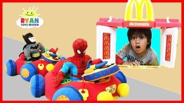 McDonald's Drive Thru Pretend Play Food Toys for Kids w/ Spiderman Ride On Cars Happy Meal Surprise http://video-kid.com/20854-mcdonald-s-drive-thru-pretend-play-food-toys-for-kids-w-spiderman-ride-on-cars-happy-meal-surp.html  McDonald's Drive Thru Pretend Play Food for Kids with  Spiderman, Batman and Ryan ToysReview! Spiderman & Batman drives to McDonald on their power Wheels ride on car for McDonald's Food and got a Happy Meal with surprise toys inside which is Hot Wheels toy car…