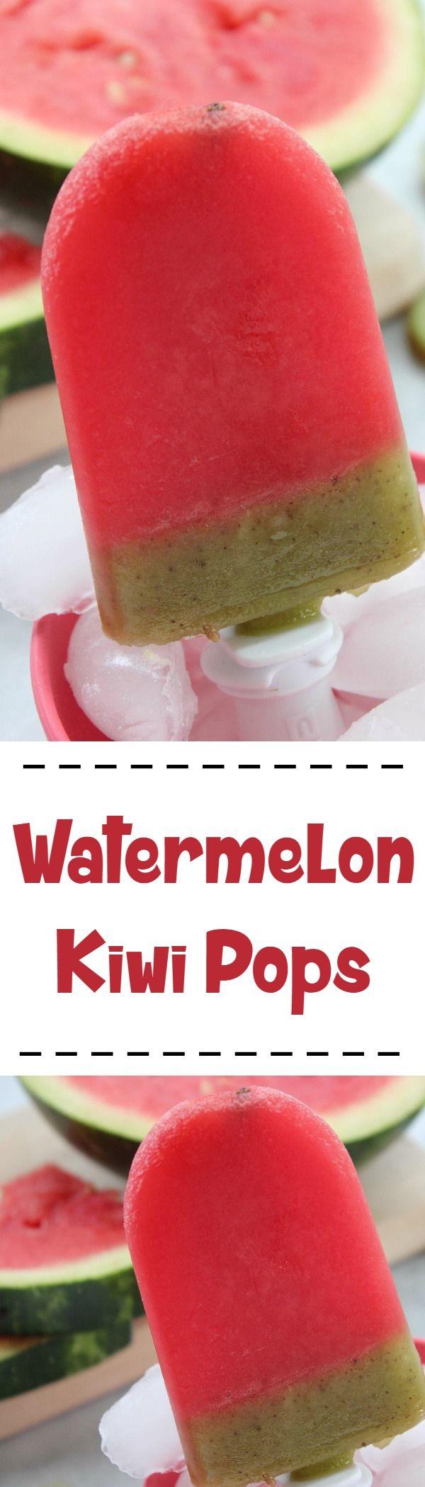 Watermelon Kiwi Pops Recipe  :: Refreshing and fun summer fruit pop recipe!