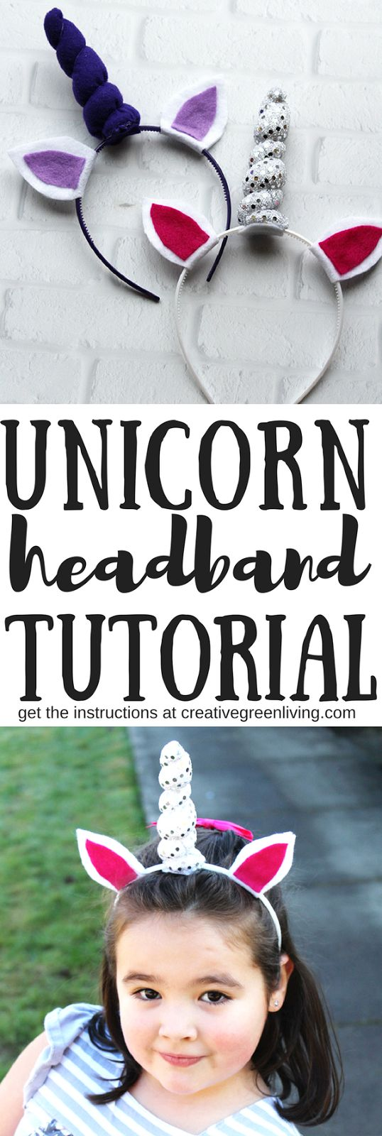 How to make a DIY unicorn headband tutorial. Includes a free printable pattern template. Perfect for unicorn birthday parties. Same pattern works for babies, toddlers, kids and adults.
