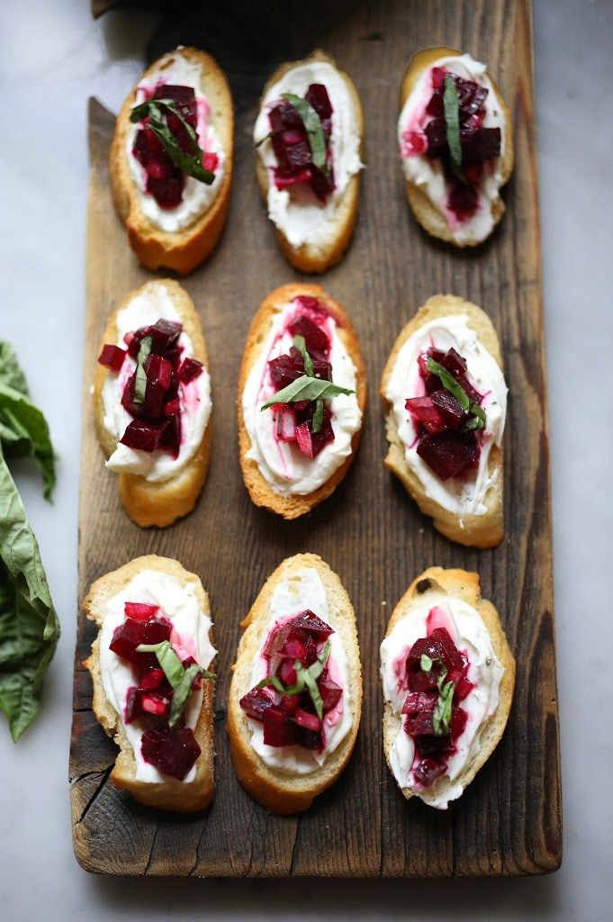 Beet Bruschetta with Goat cheese and basil; omg