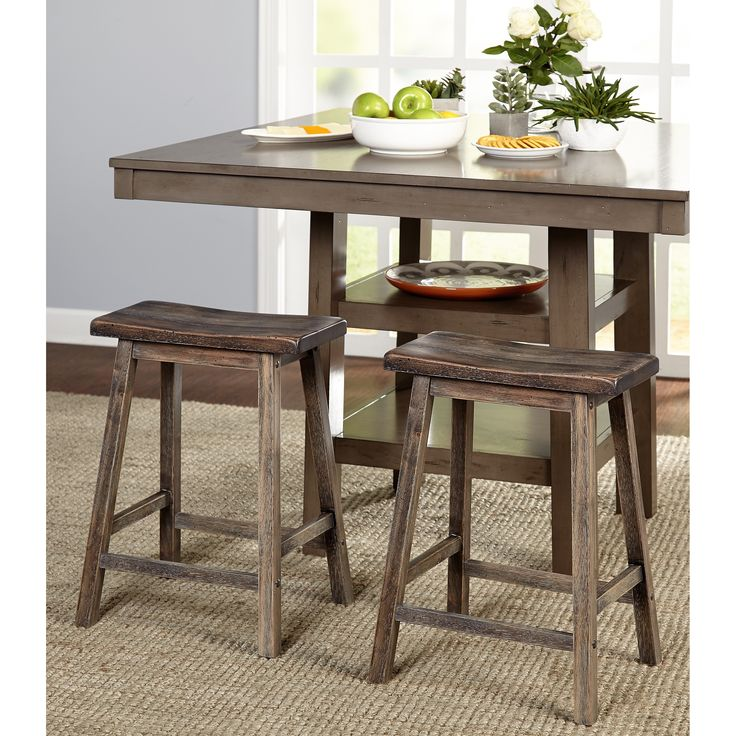 Invite some country charm into your home with this Simple Living Marney counter-height saddle stool set.