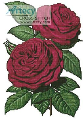 Pink Roses 5 - Cross Stitch Chart - Click Image to Close
