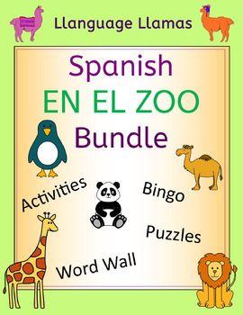 Over 30% off - fun Spanish zoo animal resources with cute pictures which students love. The vocabulary is the same in all the sets so that they can be used together - el len, el tigre, el oso, la cebra, el lobo, el elefante, el rinoceronte, el hipoptame, el canguro, la serpiente, el cocodrilo, el pingino, la jirafa, el mono, el panda, el camello.The bundle includes the four sets detailed below.