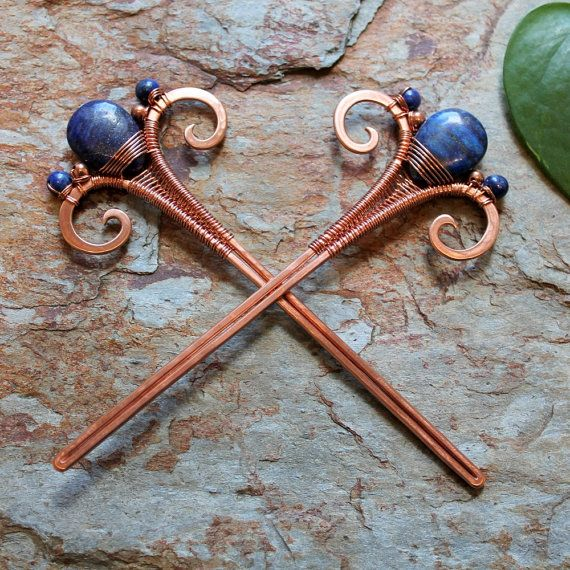 """Hair Sticks  Copper and Lapis Lazuli  one pair by Abbyjewellery Each stick is 4 3/4"""" tall, from the top of the Onyx stone to the tip of the stick. They also measure 1 7/8"""" wide from the outer edge of each swirl. The stick is 3/16"""" wide."""