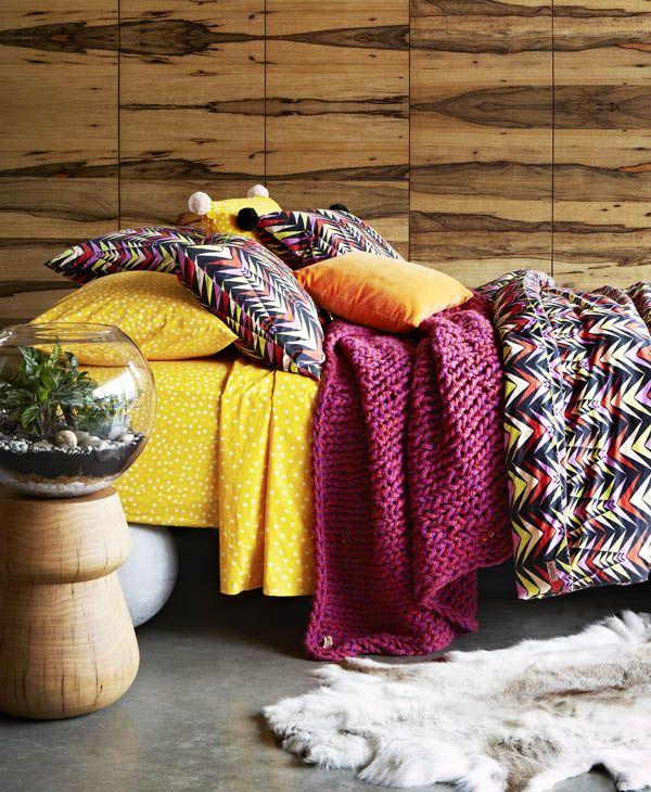 Bedlinen and soft furnishings from new Melbourne label Kip & Co. Photo -Armelle Habib. Styling byJulia GreenandAmber Lenette.