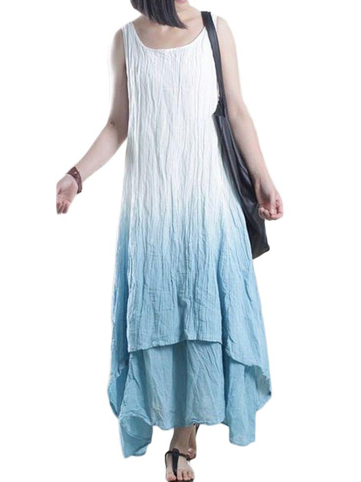 Women Casual Pocket Gradient Sleeveless Linen Cotton Maxi Dress