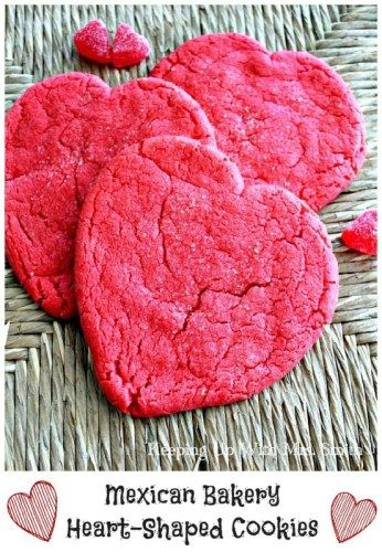 These Mexican bakery heart-shaped cookies are reminiscent of the heart-shaped sugar cookies you can find in Mexican bakeries around Valentine's Day.