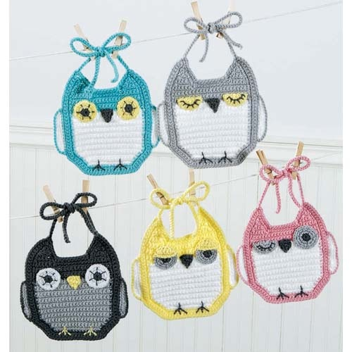 """""""It's A Hoot Baby Bibs!"""" Crochet kit for 5 owl bibs. That yellow one looks a little crabby... and I think the pink one is making eyes at me! ;) Now if I could actually crochet well enough to do this!"""