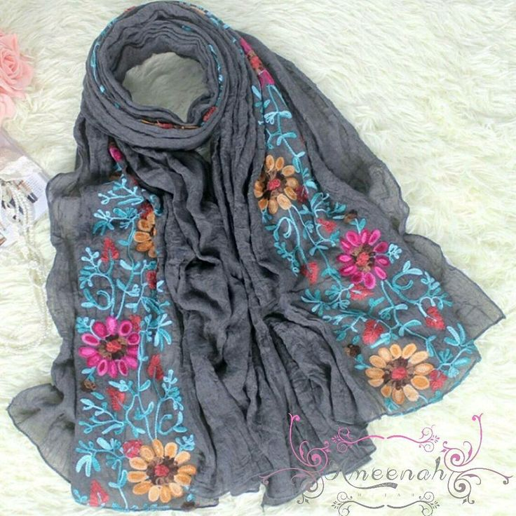 Helwa Embroider Scarf (Grey, Rose, Pink, Red)