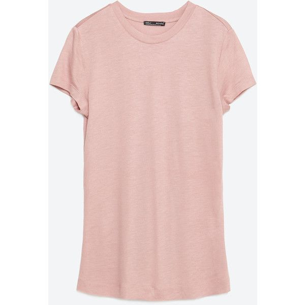 zara basic t shirt 15 liked on polyvore featuring tops t shirts chalk pink basic tshirt. Black Bedroom Furniture Sets. Home Design Ideas