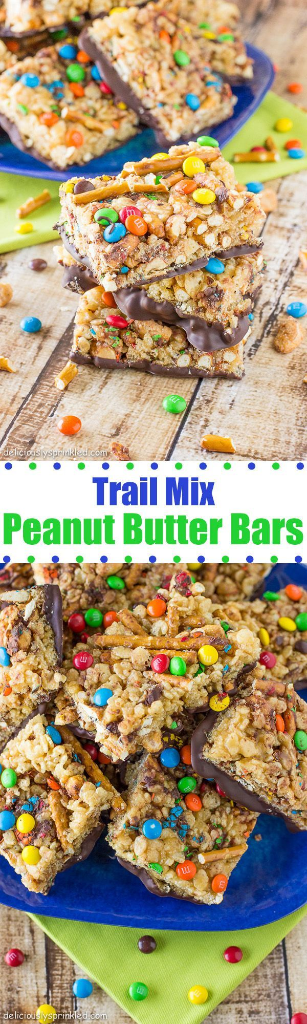 Trail Mix Peanut Butter Bars- makes the perfect sweet & salty snack!