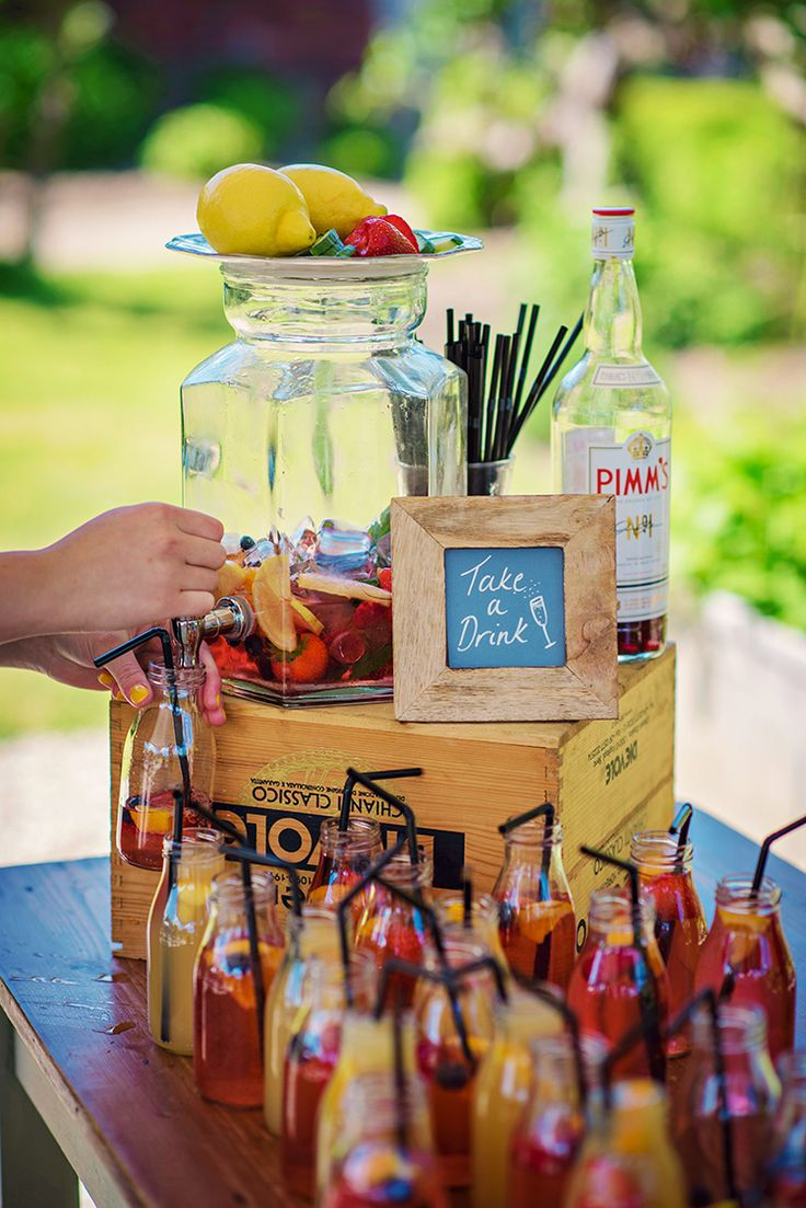 Pimms Stand Station Drinks Bar Relaxed Country Outdoor Flowers Bright Summer Wedding http://www.photographybyvicki.co.uk/