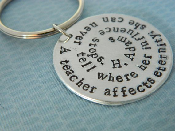 Silver hand stamped Keychain for Teacher Volunteer by erinsmeltz, $16.00