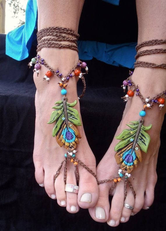 BOHEMIAN barefoot sandals PEACOCK FEATHER for many by GPyoga, $90.00 ZOMG LOVE
