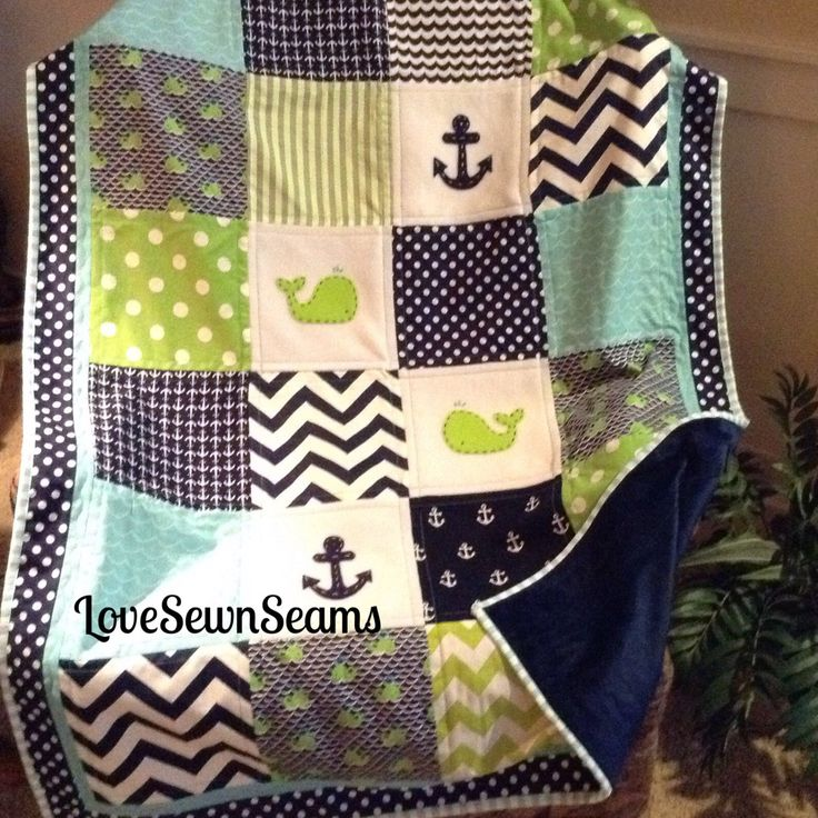 "Baby Whale Crib Size quilt in navy, green & Aqua 38""x52 by Lovesewnseams on Etsy"