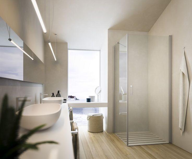 Rahmenlose Duschkabine im modernen Bad mit Parkettboden