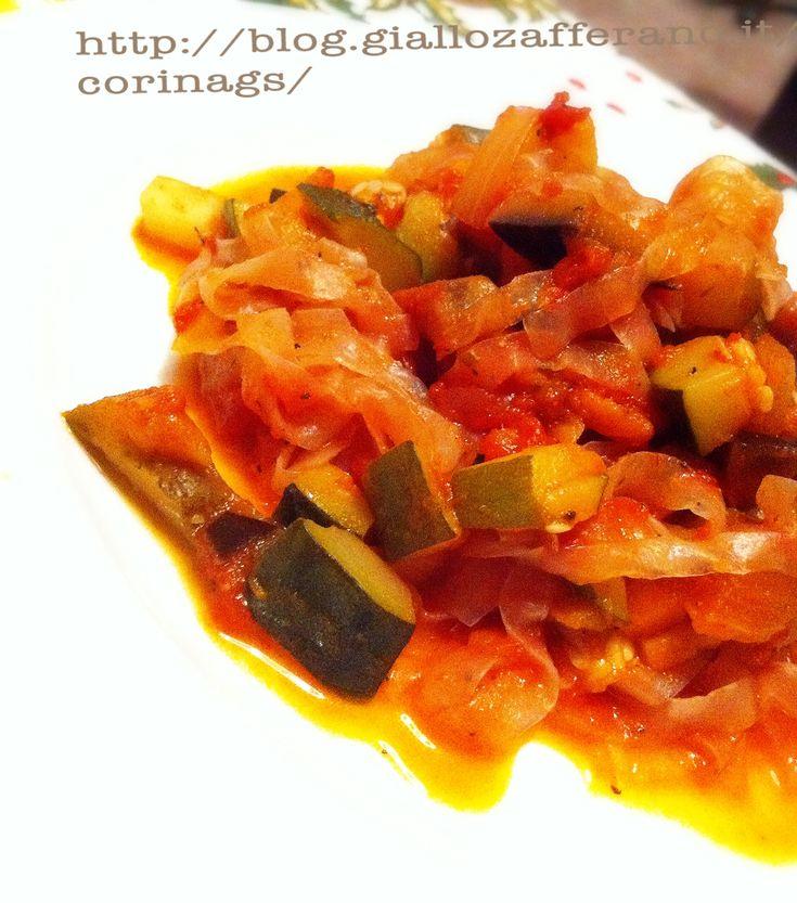 Shirataki tagliatelle con verdure e pomodoro|Ricetta light