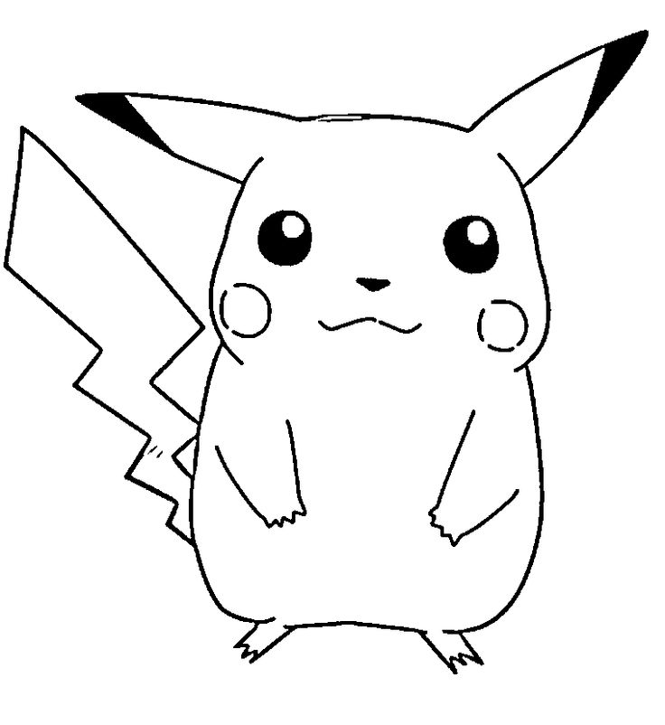 Cute pikachu pokemon coloring page