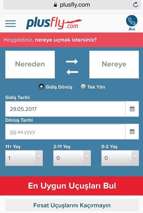 Yeni mobile arama yüzümüz ile Türkiye'nin en kolay ve ucuz uçak bileti web sitesiyiz. Sosyal medya takipcilerimize özel indirimimiz devam ediyor. Indirim kodu SOSYAL plusfly.com #uçakbileti #bilet #pegasus #thy #anadolujet #havayolu #indirimkodu #indirim