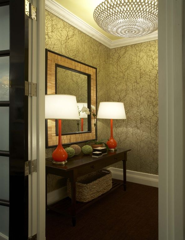 Contemporary Hallway with interior wallpaper, Bungalow 5 melrose lamp in orange, French doors, Laminate floors, flush light