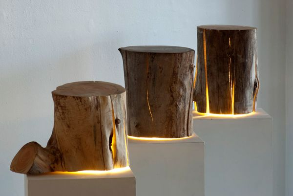 Cracked log lamps to light a woodland nursery