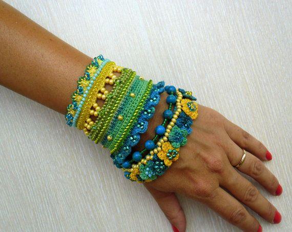 Crochet Bracelet Cuff Green Yellow Bracelet by SvetlanaCrochet