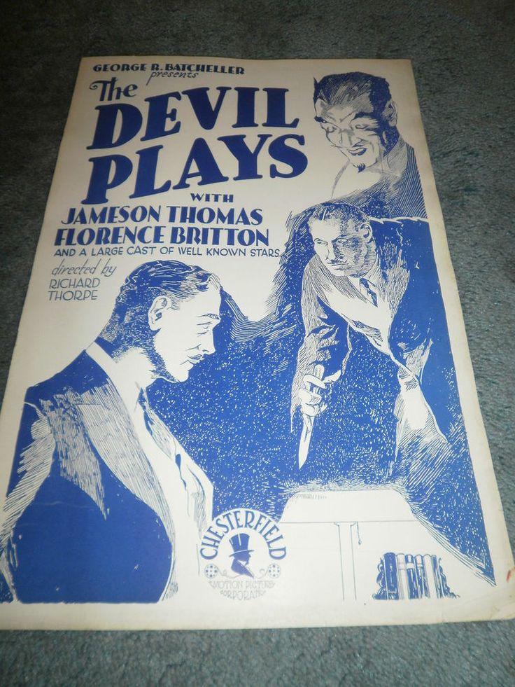 THE DEVIL PLAYS(1931)JAMESON THOMAS ORIGINAL PRESSBOOK UNUSED!