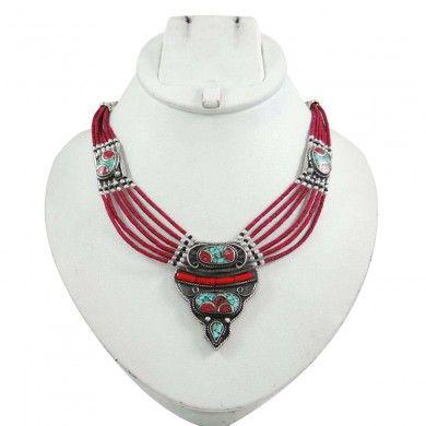 Carnelian Stone Silvertone Reversable Necklace Nepal Fashion Jewellry For Her