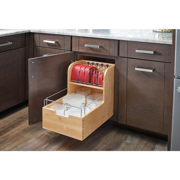 Rev-A-Shelf 18.88 in. H x 14.5 in. W x 21.56 in. D Wood Food Storage Container Organizer for Base 18 Cabinets