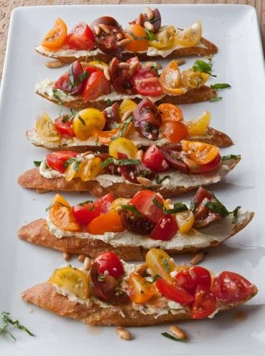 barefoot contessa tomato crostini with whipped feta note recipe calls for basil and pine nuts which arent in ingredient list