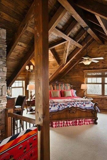 loft bedroom with desk. Like the rustic look of the wood. Perfect getaway cabin