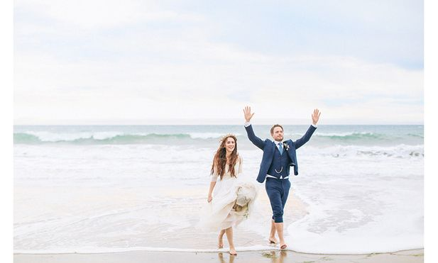 Troian Bellisario and Patrick J. Adams reflect on their camp-themed wedding.