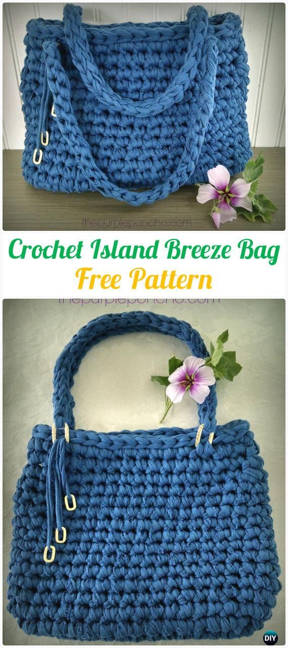 Crochet Island Breeze HandbagTote Free Pattern - #Crochet Handbag Free Patterns