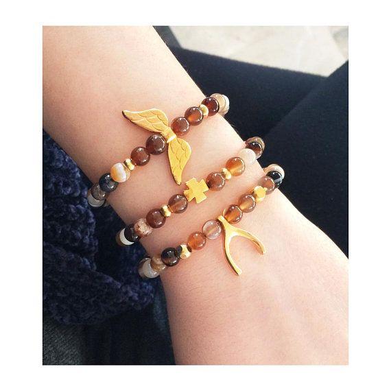 brown agate bracelet, gold cross bracelet, semi precious stones jewelry, greek jewelry, wishbone jewelry, gemstone bracelet, agate gemstone