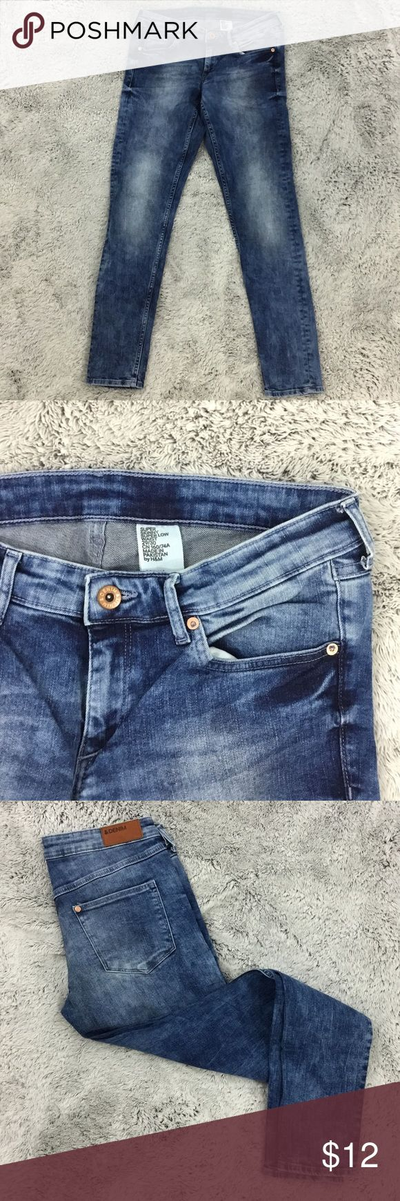 H&M super skinny super low waist jeans Size-29/30  Super skinny jeans  Super low waist  Acid wash style  H&M Excellent condition  No stains damages or repairs   Measurements & additional photos upon request  Questions & offers welcomed  Ships same or next day  Bundles 2+ 10% off H&M Jeans Skinny