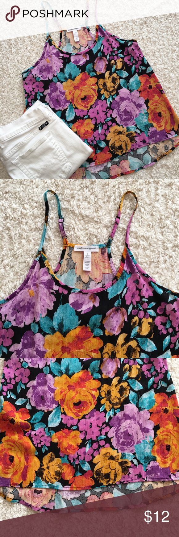 NWOT Floral Cami Floral cami NWOT. Straps are adjustable, and it falls slightly lower in the back. Fits like a typical small. 100% rayon. Ambiance Apparel Tops Camisoles
